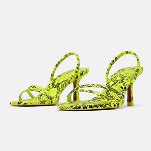 Zara Faux Snake Neon Skin Sandals